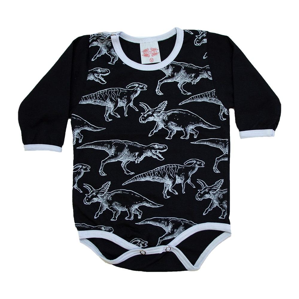 Body Bebê Dino Preto  - Jeito Infantil