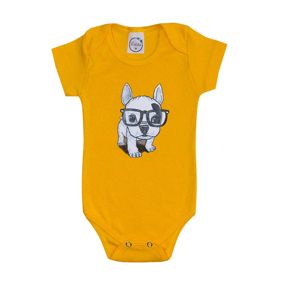 Body Bebê Dog Amarelo  - Jeito Infantil