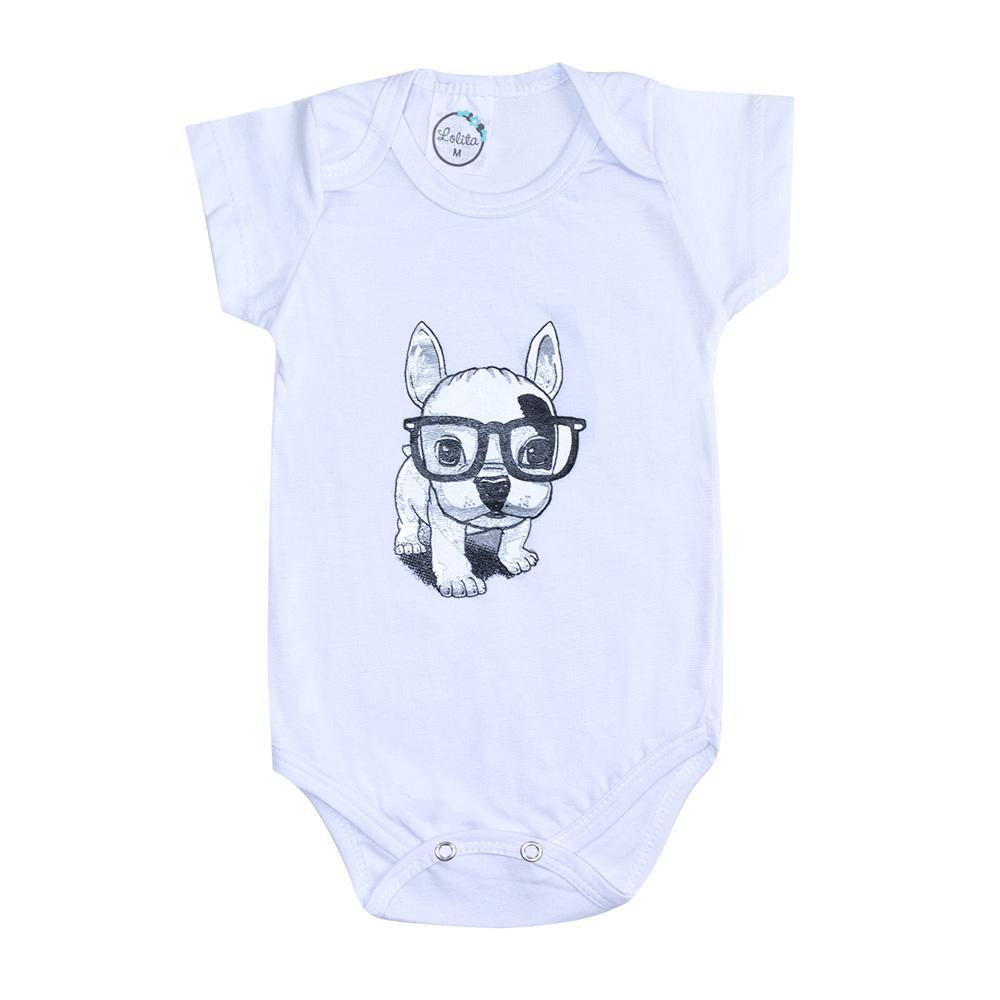 Body Bebê Dog Branco  - Jeito Infantil