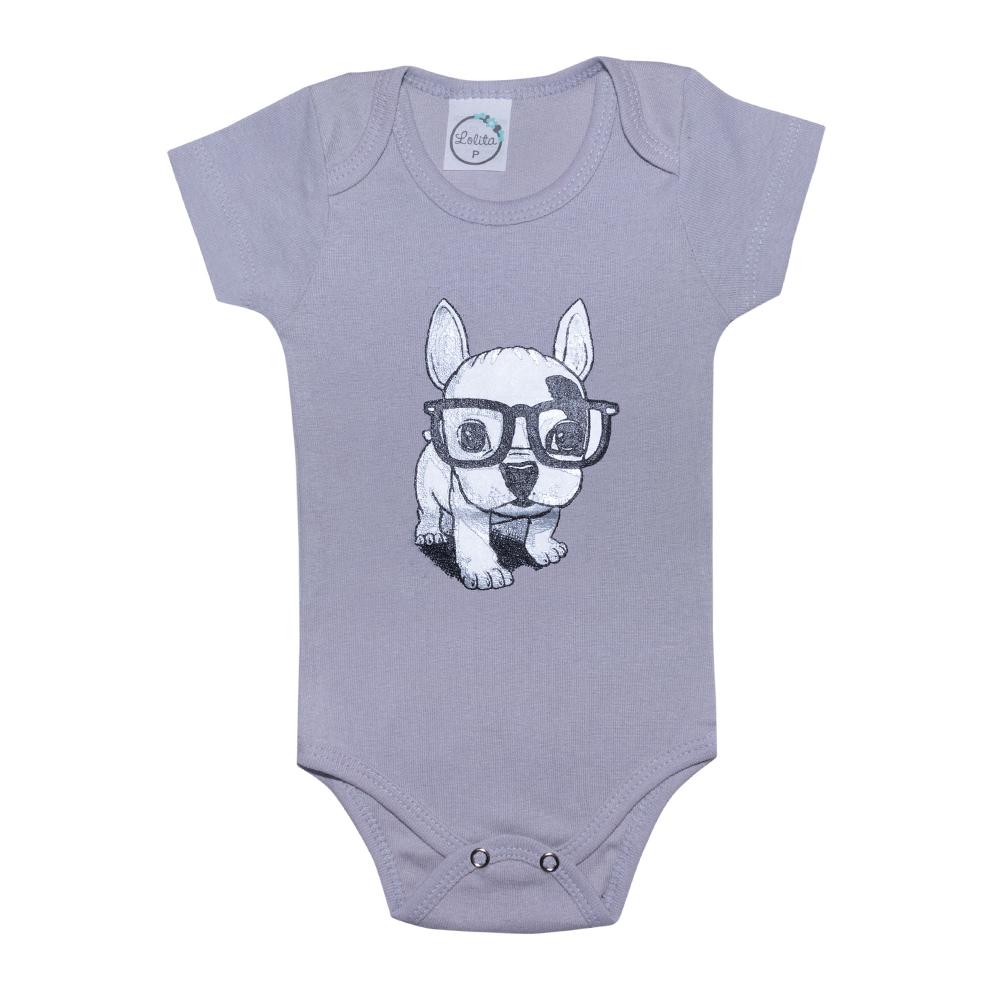 Body Bebê Dog Cinza  - Jeito Infantil