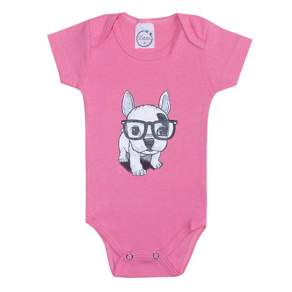 Body Bebê Dog Rosa  - Jeito Infantil