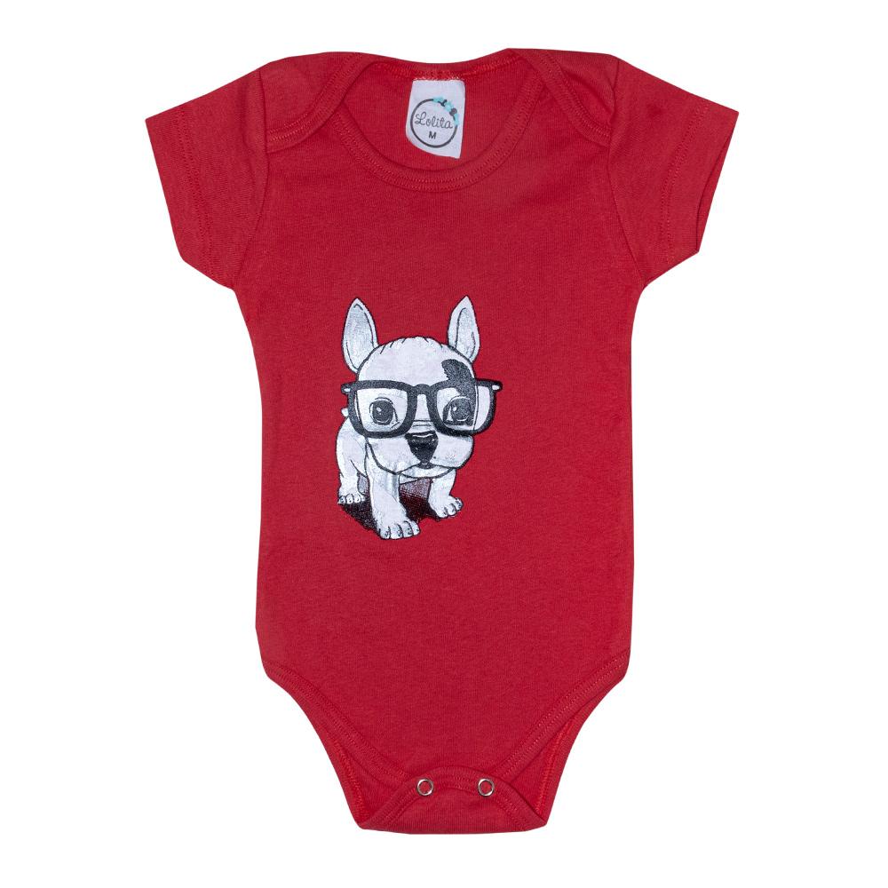 Body Bebê Dog Vermelho  - Jeito Infantil