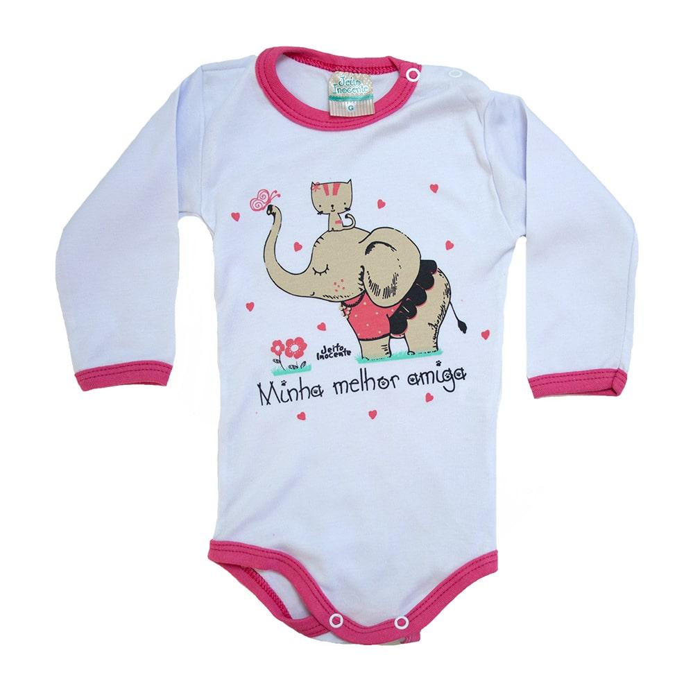 Body Bebê Elefante e Gatinha  Branco e Pink  - Jeito Infantil