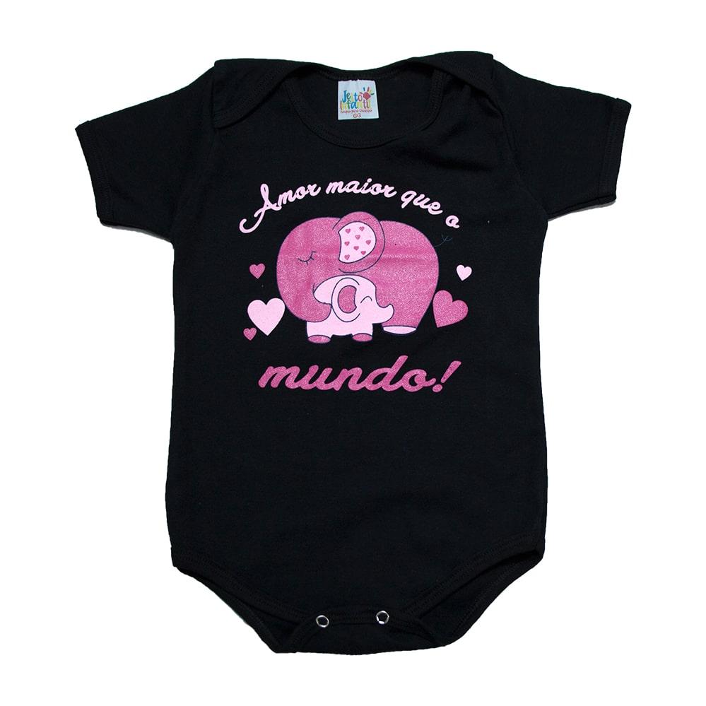 Body Bebê Frase Amor Maior Preto  - Jeito Infantil
