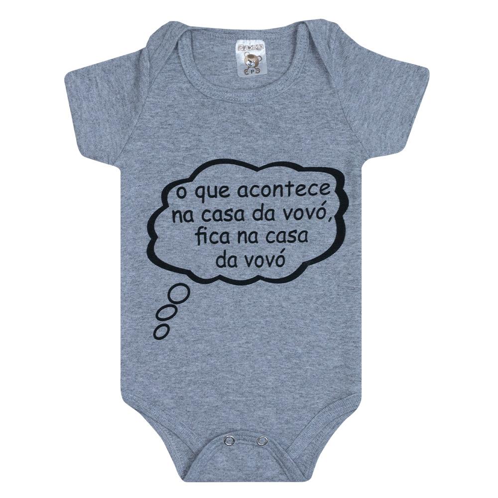 Body Bebê Frase Casa Da Vovó Mescla  - Jeito Infantil
