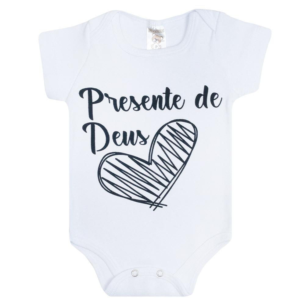 Body Bebê Frase Presente De Deus Branco  - Jeito Infantil
