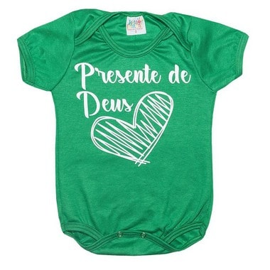 Body Bebê Frase Presente De Deus Verde  - Jeito Infantil