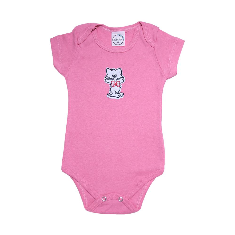 Body Bebê Gatinha  Rosa  - Jeito Infantil