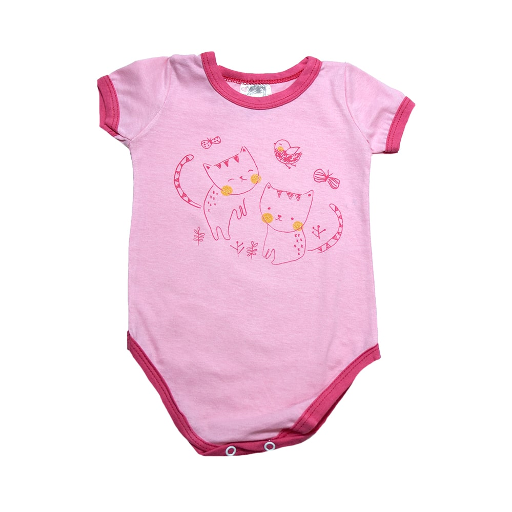 Body Bebê Gatinho Rosa  - Jeito Infantil