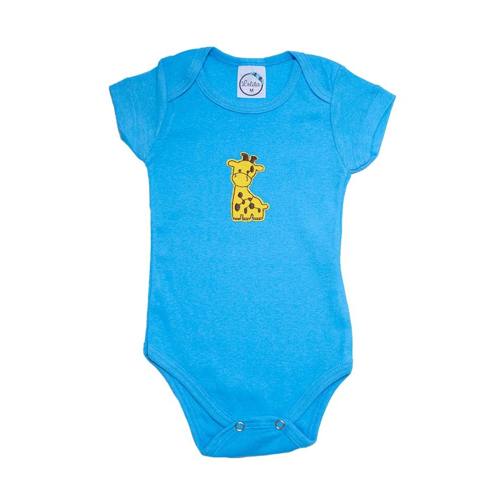 Body Bebê Girafa  Azul  - Jeito Infantil