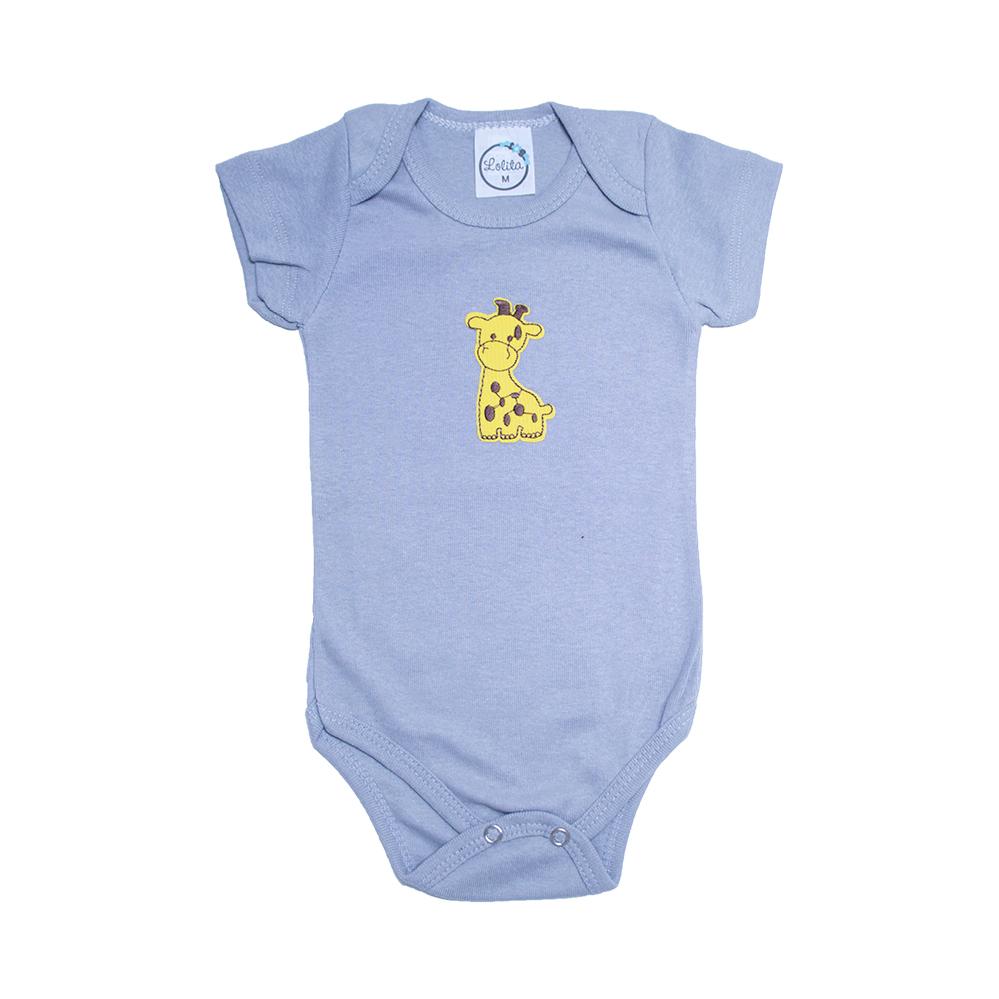 Body Bebê Girafa  Cinza  - Jeito Infantil