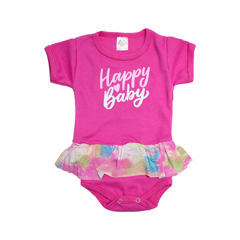 Body Bebê Happy Baby Com Babado Pink  - Jeito Infantil