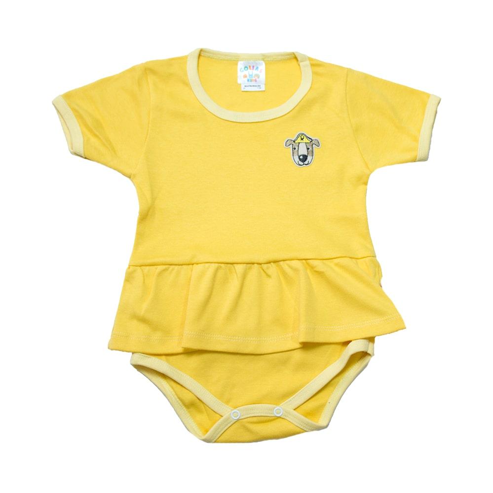 Body Bebê/Infantil Com Babado e Aplique Amarelo  - Jeito Infantil