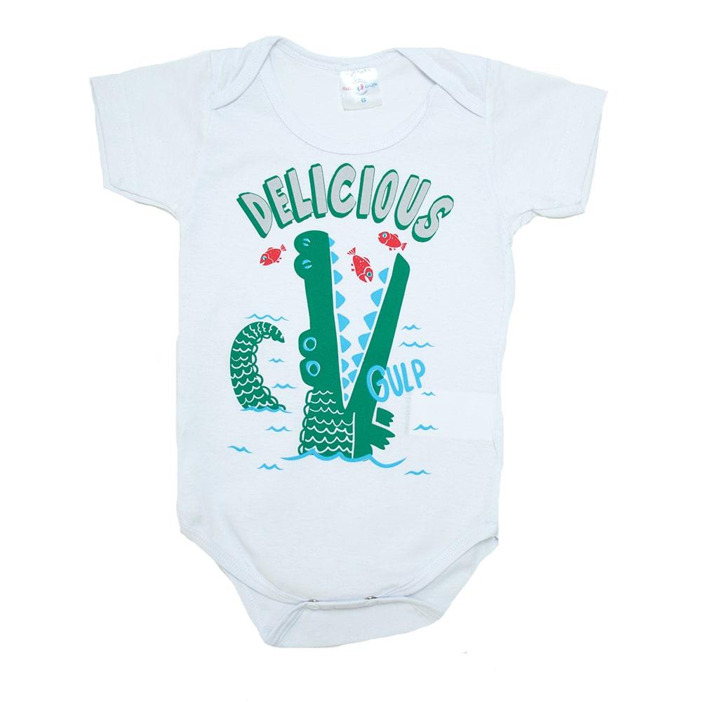 Body Bebê Jacaré Branco  - Jeito Infantil