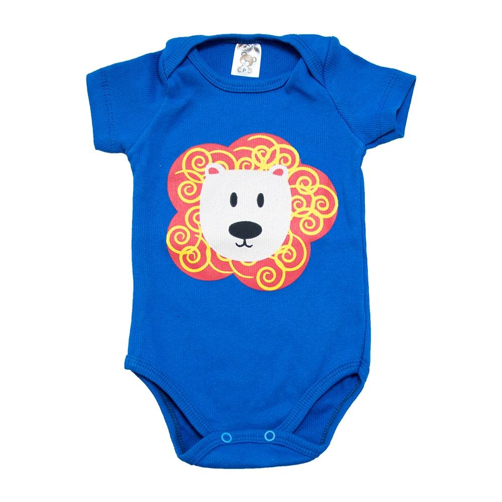 Body Bebê Leão Azul Royal  - Jeito Infantil