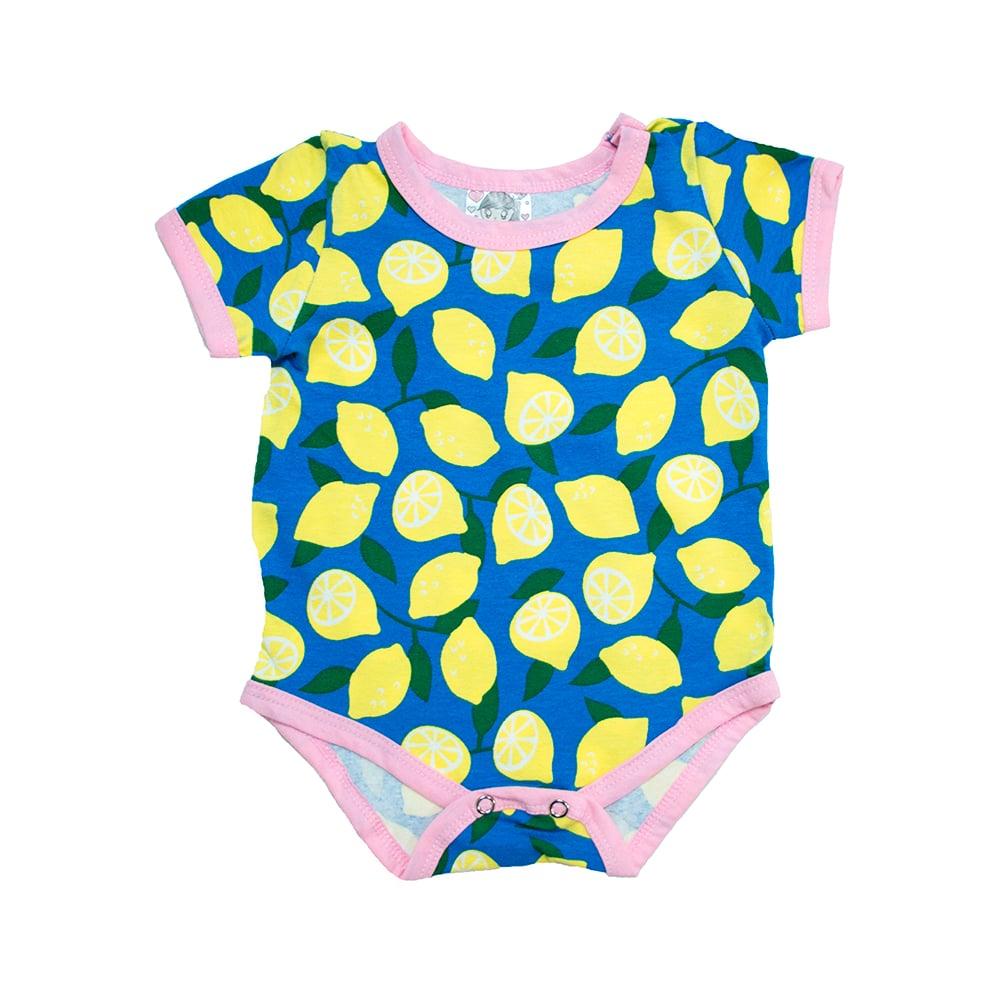 Body Bebê Limão Azul Com Amarelo  - Jeito Infantil
