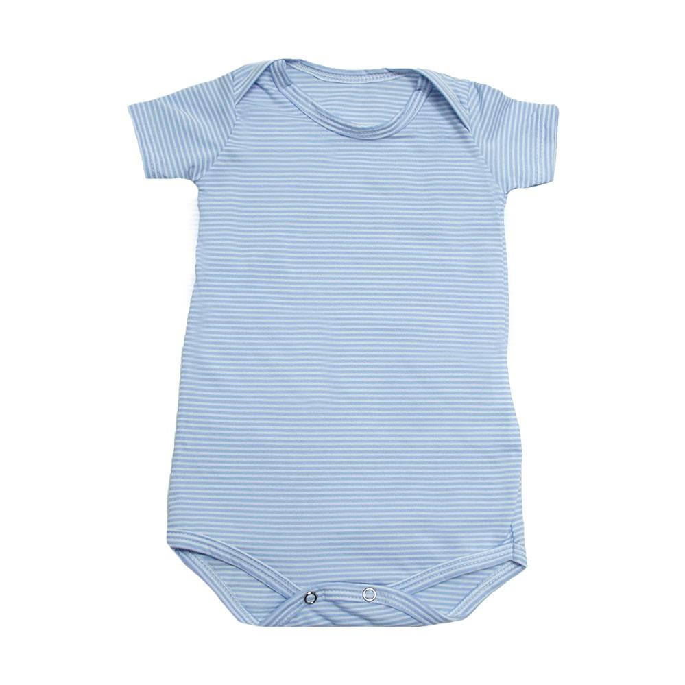 Body Bebê Listras  Azul  - Jeito Infantil