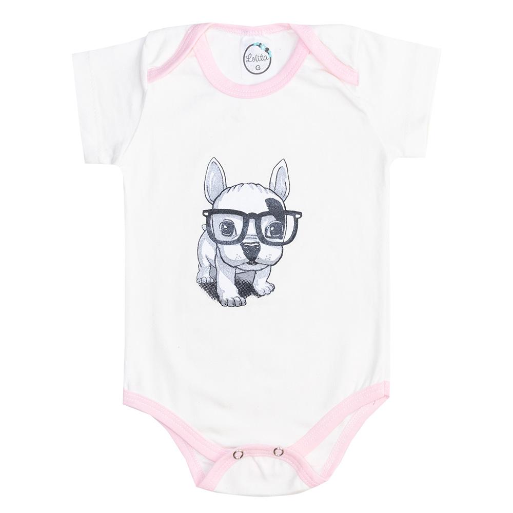 Body Bebê Manga Curta Dog Pérola  - Jeito Infantil