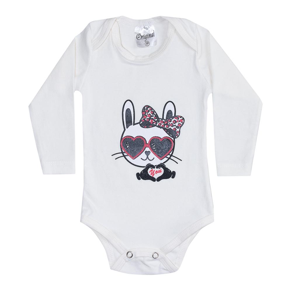 Body Bebê Manga Longa Cat Pérola  - Jeito Infantil