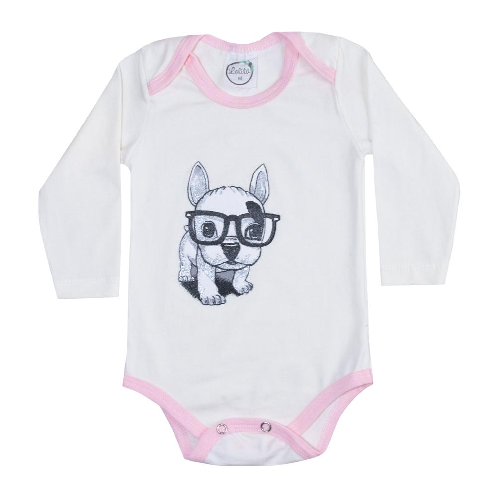 Body Bebê Manga Longa Dog Pérola  - Jeito Infantil
