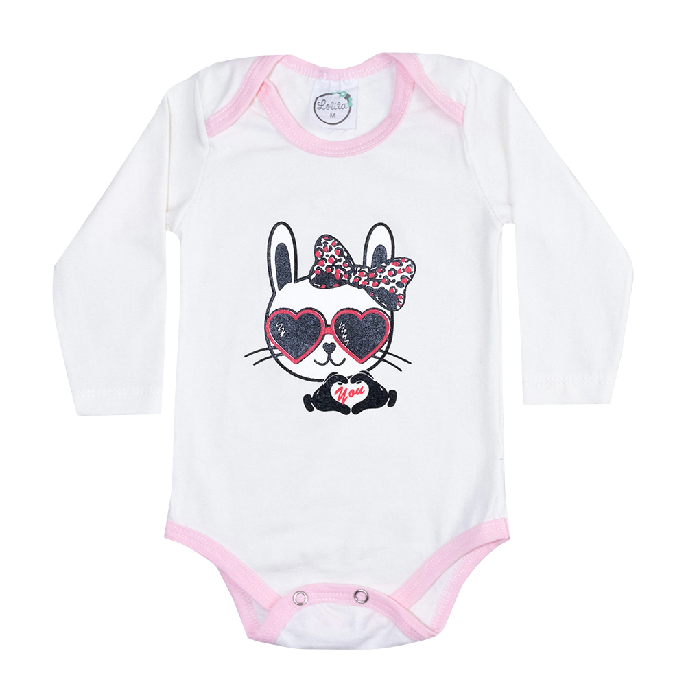 Body Bebê Manga Longa Friso Rosa Cat Pérola  - Jeito Infantil