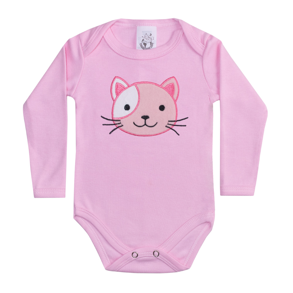Body Bebê Manga Longa Gatinha Rosa  - Jeito Infantil