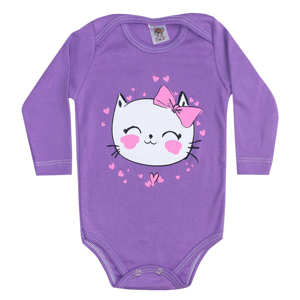 Body Bebê Manga Longa Gatinha Roxo  - Jeito Infantil