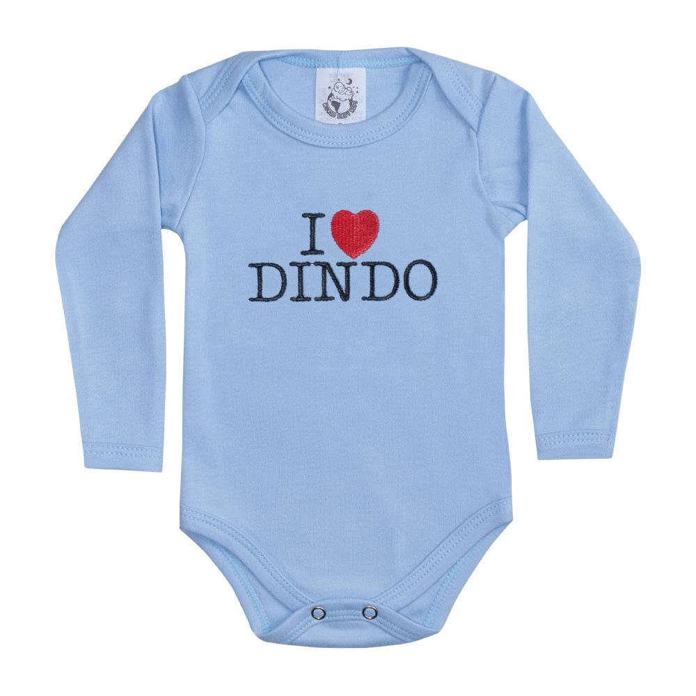 Body Bebê Manga Longa I Love Dindo Azul  - Jeito Infantil