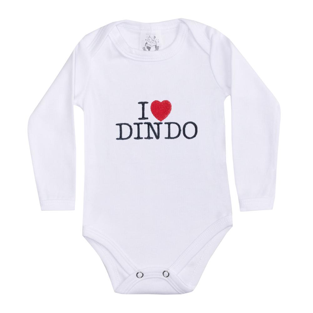 Body Bebê Manga Longa I Love Dindo Branco  - Jeito Infantil