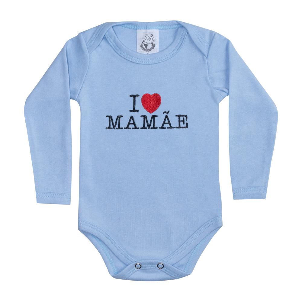 Body Bebê Manga Longa I Love Mamãe Azul  - Jeito Infantil
