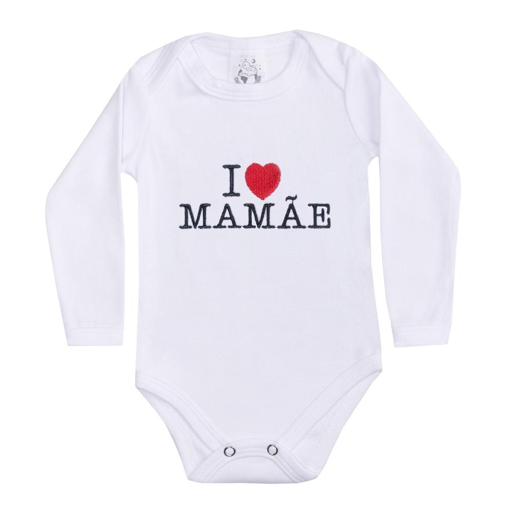 Body Bebê Manga Longa I Love Mamãe Branco  - Jeito Infantil