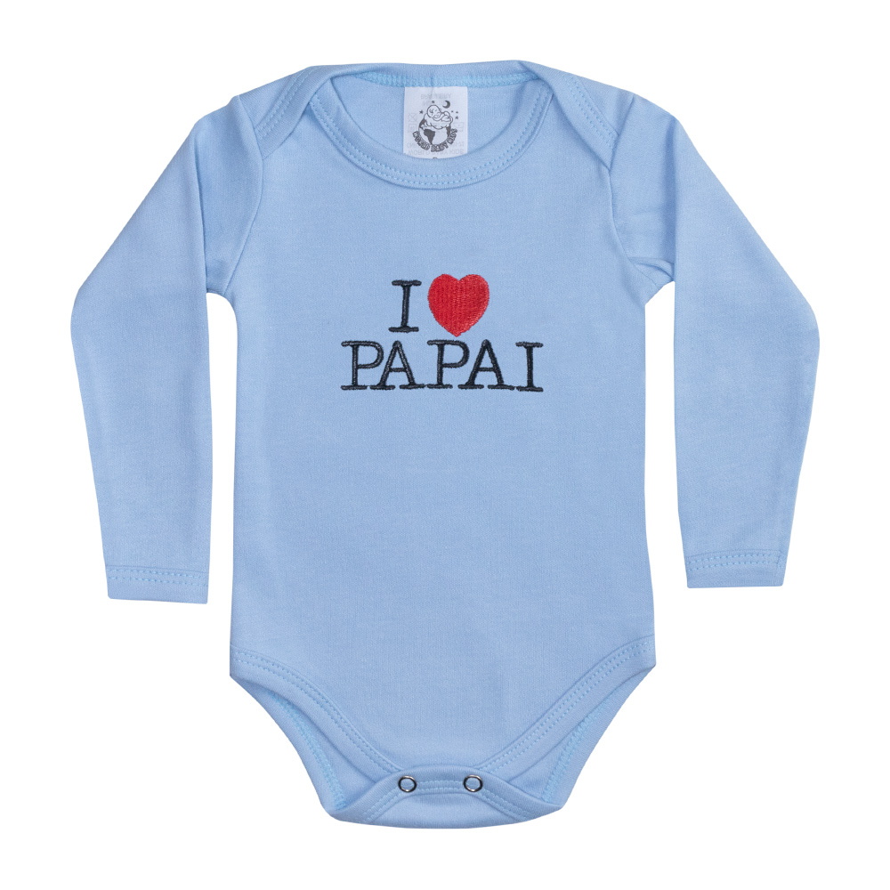 Body Bebê Manga Longa I Love Papai Azul  - Jeito Infantil