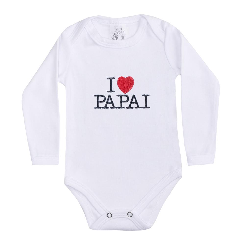 Body Bebê Manga Longa I Love Papai Branco  - Jeito Infantil