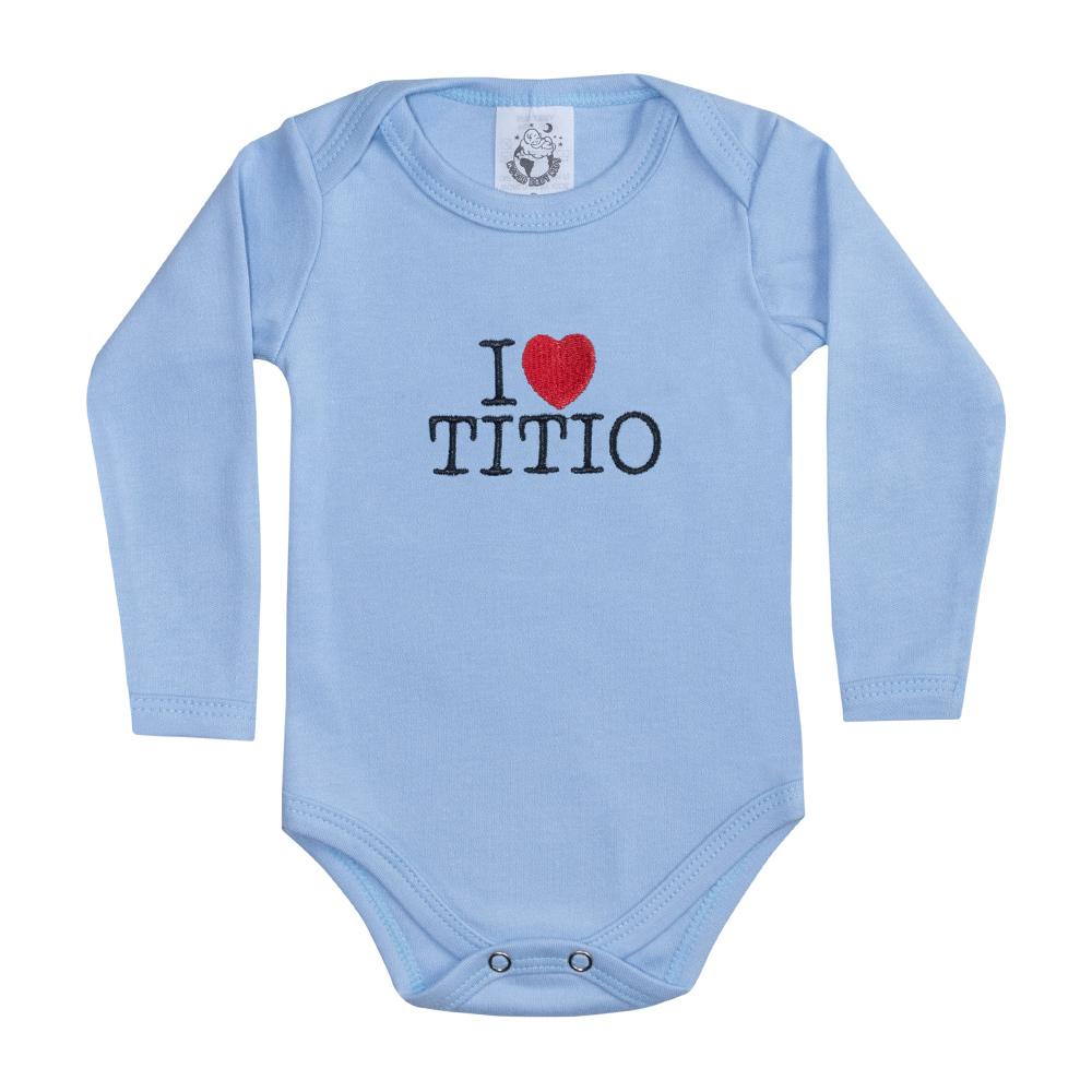 Body Bebê Manga Longa I Love Titio Azul  - Jeito Infantil