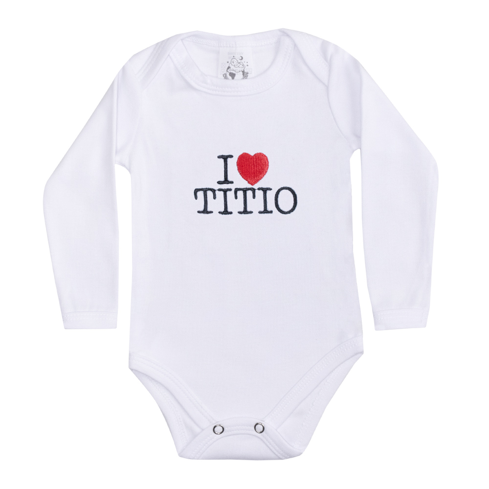 Body Bebê Manga Longa I Love Titio Branco  - Jeito Infantil