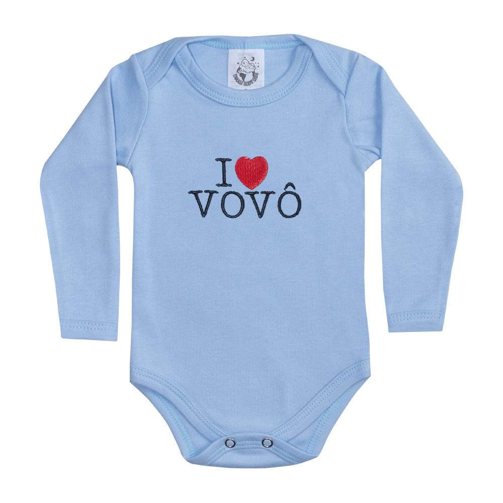 Body Bebê Manga Longa I Love Vovô Azul  - Jeito Infantil