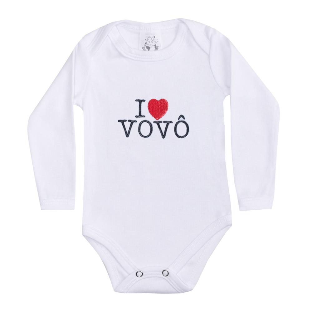 Body Bebê Manga Longa I Love Vovô Branco  - Jeito Infantil