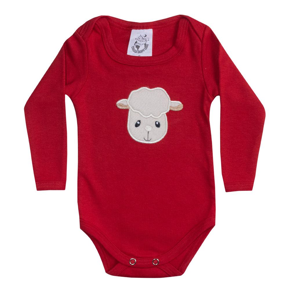 Body Bebê Manga Longa Ovelhinha Vermelho  - Jeito Infantil