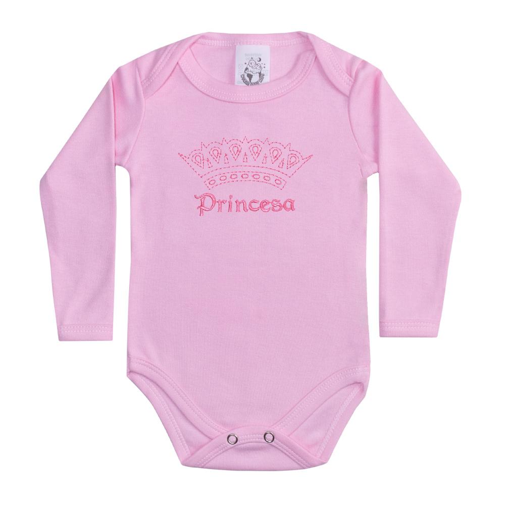 Body Bebê Manga Longa Princesa Rosa  - Jeito Infantil