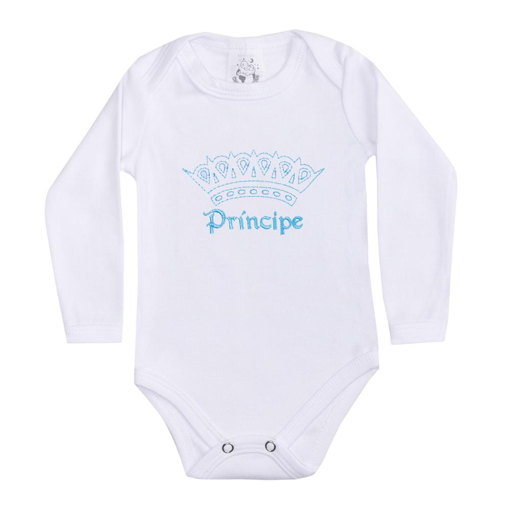 Body Bebê Manga Longa Príncipe Branco  - Jeito Infantil