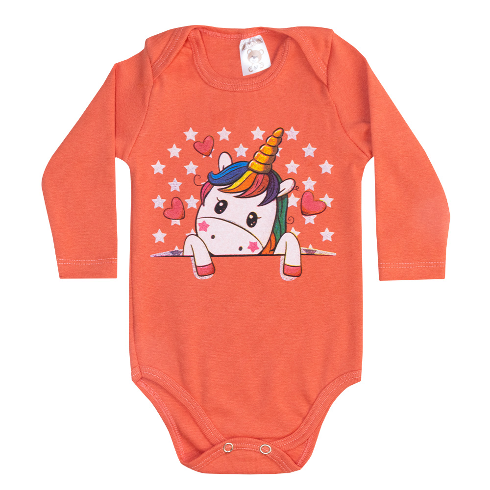 Body Bebê Manga Longa Unicórnio Salmão  - Jeito Infantil