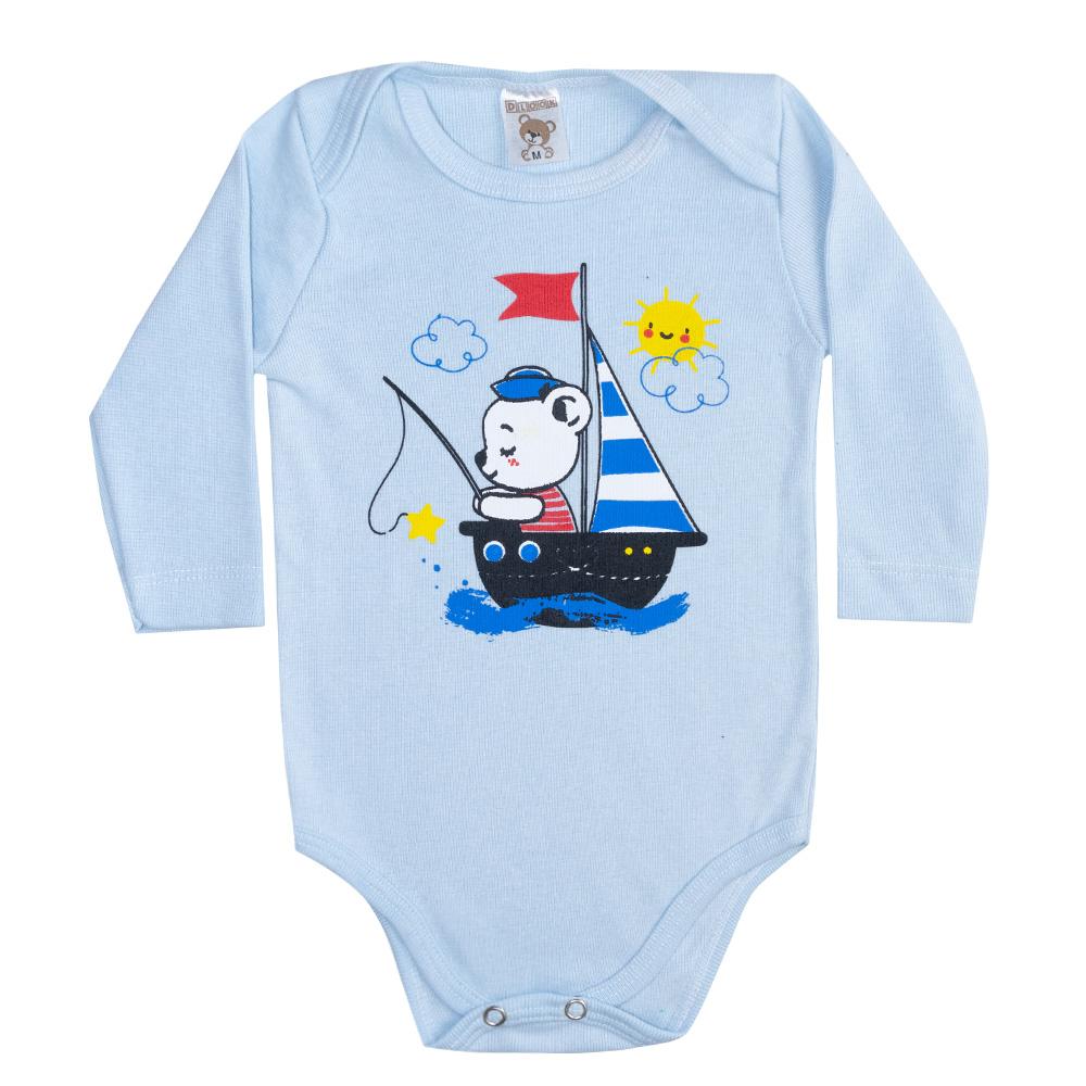 Body Bebê Manga Longa Ursinho Azul  - Jeito Infantil