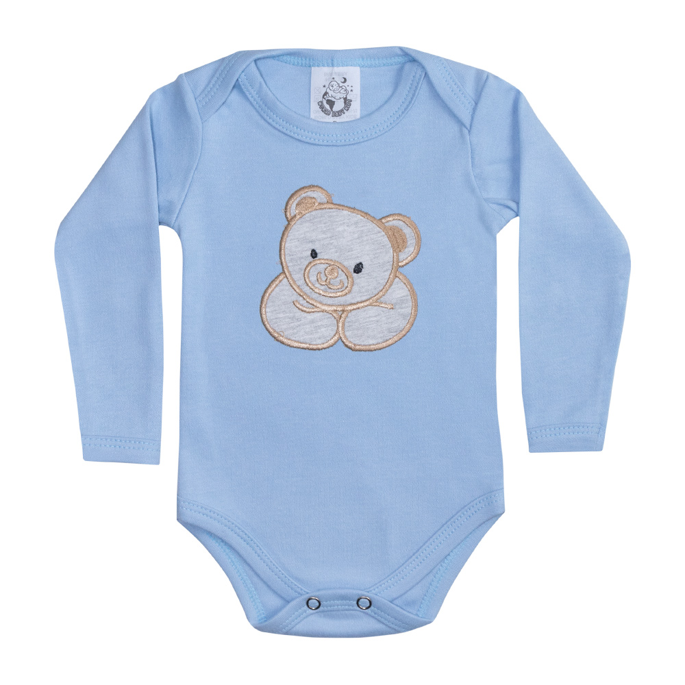 Body Bebê Manga Longa Urso Azul  - Jeito Infantil