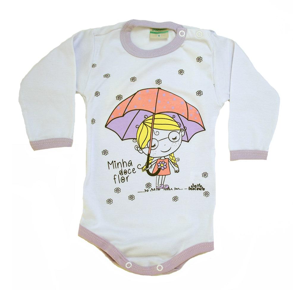 Body Bebê Menina Doce Flor Branco e Lilás  - Jeito Infantil