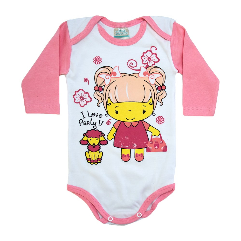 Body Bebê Menina Poodle Branco e Salmão  - Jeito Infantil