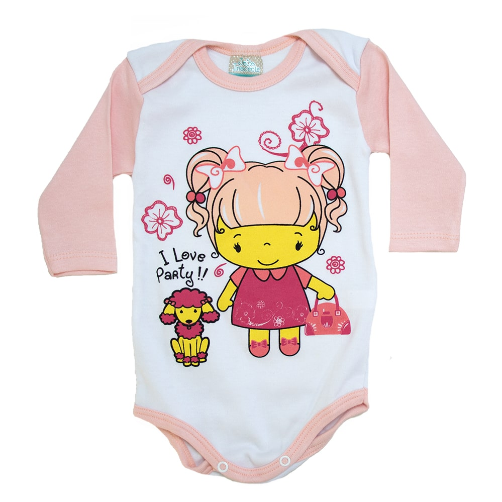 Body Bebê Menina Poodle Branco e Salmão Claro  - Jeito Infantil