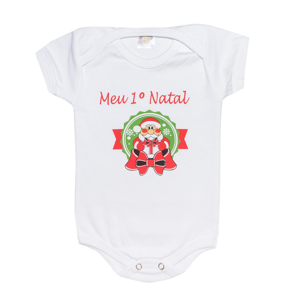 Body Bebê  Meu 1° Natal  Branco  - Jeito Infantil