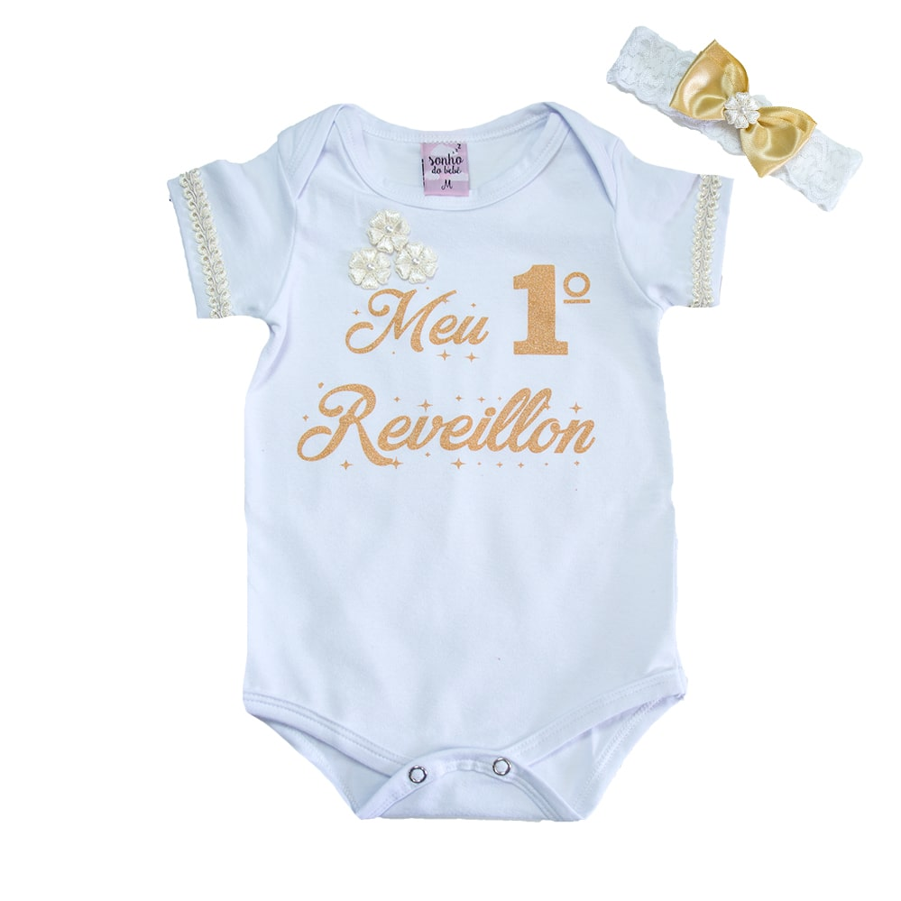Body Bebê Meu 1° Reveillon Branco  - Jeito Infantil