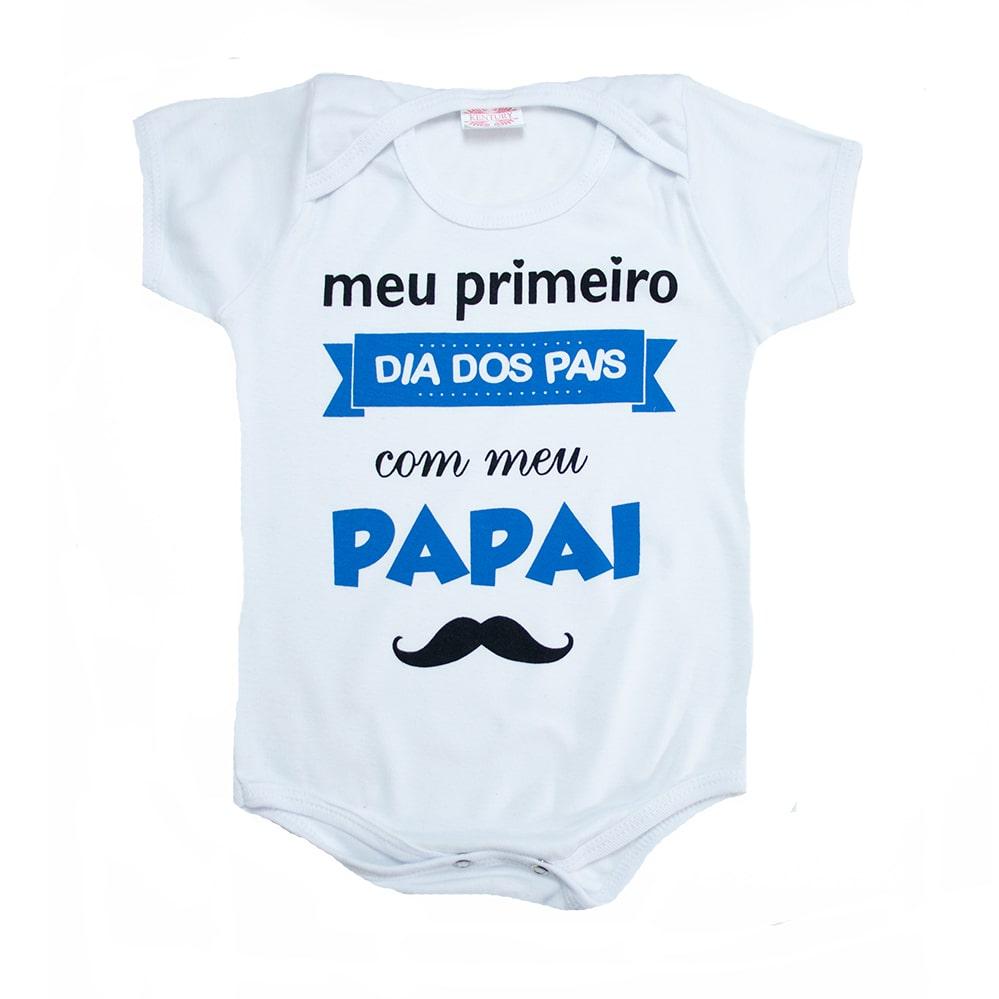 Body Bebê Meu Primeiro Dia Dos Pais Azul  - Jeito Infantil