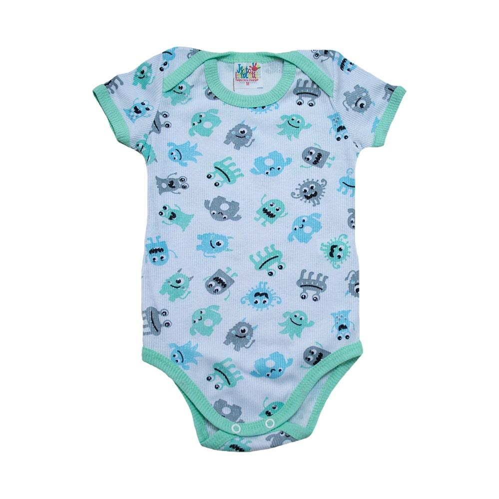 Body Bebê Monstrinhos Branco e Verde  - Jeito Infantil